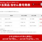 2015年平成27年 年賀状お年玉商品当選番号発表!