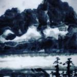 【水墨画】没骨法(もっこつほう)で描く、山、雲、河、森 仕上げはinstagram
