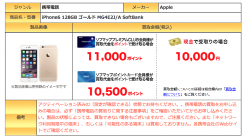 Apple のiPhone下取り相場一覧 MG4E2J/A Apple iPhone 6 128GB Goldの場合 10