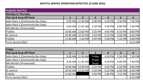 モントキアラ 無料シャトルバスサービス スケジュール クアラルンプール 2