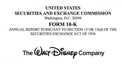 米ウォルト・ディズニー 10K 四半期連結SEC報告書 2017年 売上551億ドル 粗利93億ドル 5