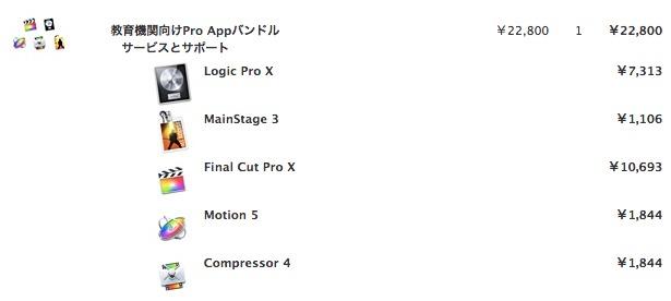 学生・教職員割引 .ac アカウントで割引 Final Cut Pro X  Logic Pro X 21