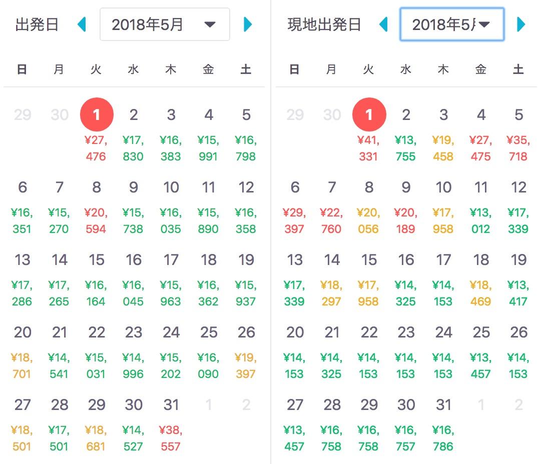 2018年東京:クアラルンプール渡航料金最安値一覧 2