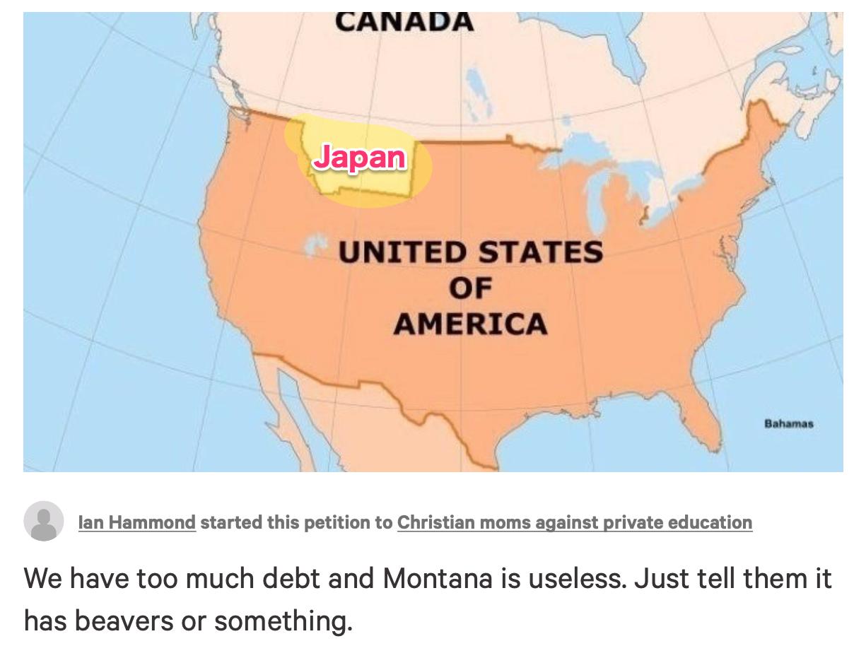 そうだ米国モンタナ州は日本が買おう!110兆円 change.org でモンタナ州をカナダへ$1Tで売る署名が展開中 1