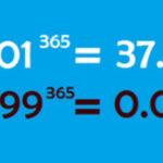 1日1%の努力は1年間で37.8倍に…。『プラス1%の法則』2年で1,427倍、3年で5万3939倍に!